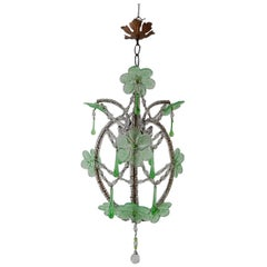 French Beaded Murano Green Drops Macaroni Swags Flowers Chandelier circa 1920