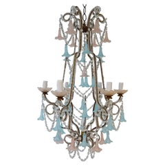 French Beaded Pink & Blue Bells Opaline Murano Chandelier with Spear circa 1900