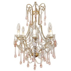French Beaded Pink Drops and Flowers Chandelier