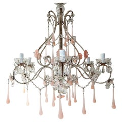 French Beaded Pink Flowers Opaline Murano Drops Chandelier, circa 1920