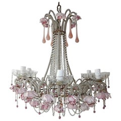 French Beaded Pink Opaline Porcelain Roses Chandelier, circa 1920