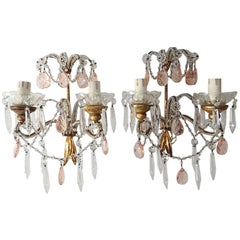 French Beaded Pink Prisms Crystal Sconces, 1900