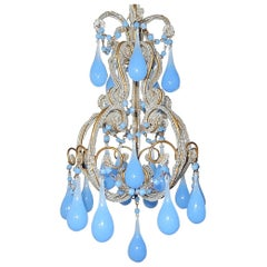 French Beaded Purple Lavender Opaline Drops and Beads Petit Beaded Chandelier