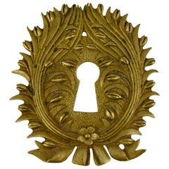 French Beaux Arts Decor Ormolu Wreath and Floral Escutcheon Keyhole Cover