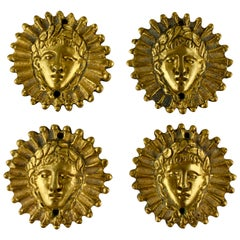French Beaux Arts Ormolu Sun King Head Medallion Ornaments, Set of Four