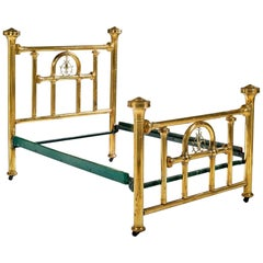 French Bed Frame of Polished Brass with Large Headboard, circa 1900