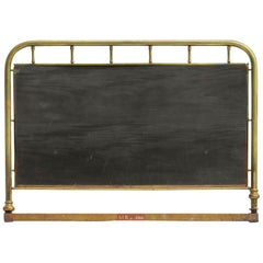 French Bed Headboard Brass Wood US Queen UK King Size, circa 1900