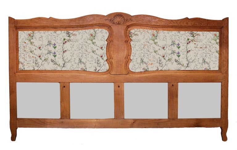 French bed headboard California king size or Super King Louis early 20th century Good size 73.6 inches (187cms) wide Carved oak Price includes upholstering and recovering to fabric of your choice, excludes cost of fabric, bespoke detailing