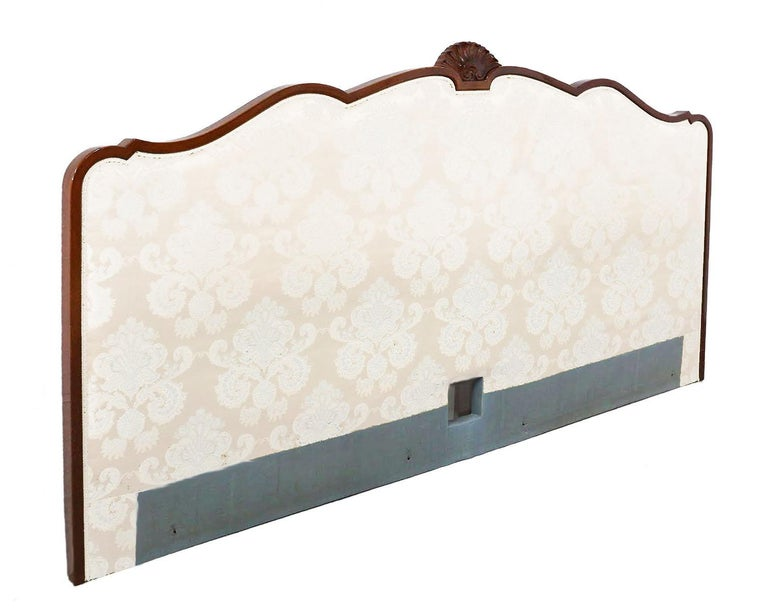 Vintage French bed headboard late 20th century Louis  Price includes recovering to fabric of your choice, excludes cost of fabric, bespoke detailing including stud work, piping etc Color simulations shown and the present fabric is pale green as