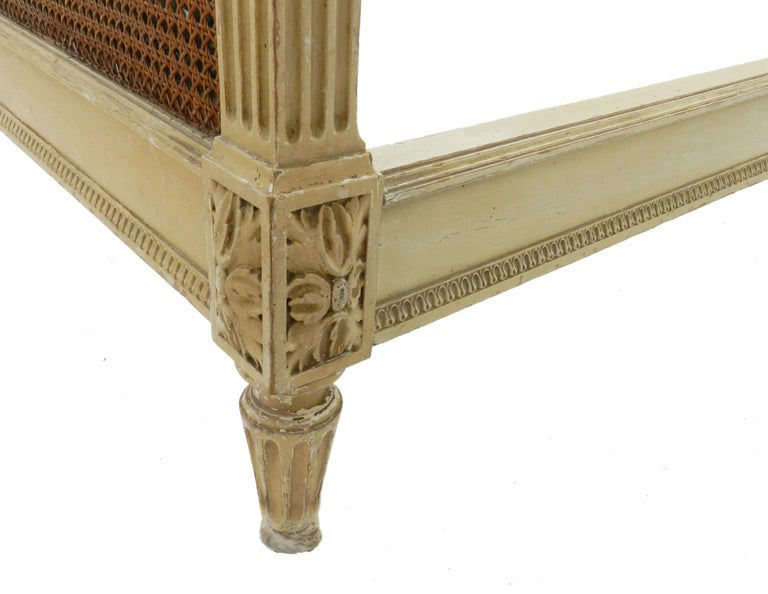 French Bed US Queen UK King Caned 19th Century Louis XVI Distressed or Repaint For Sale 1