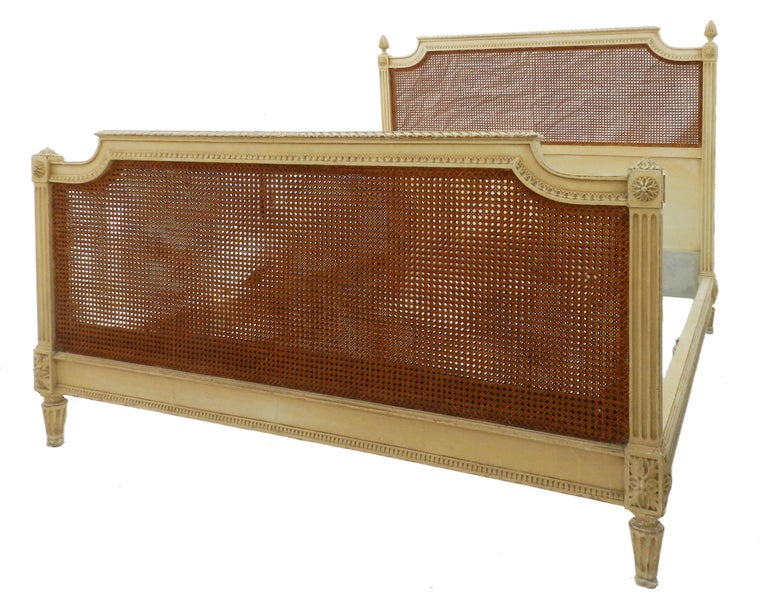 French Bed US Queen UK King Caned 19th Century Louis XVI Distressed or Repaint For Sale 2