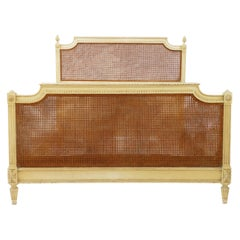 French Bed US Queen UK King Caned 19th Century Louis XVI Distressed or Repaint