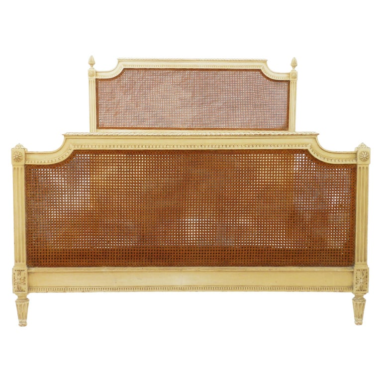 French Bed US Queen UK King Caned 19th Century Louis XVI Distressed or Repaint For Sale