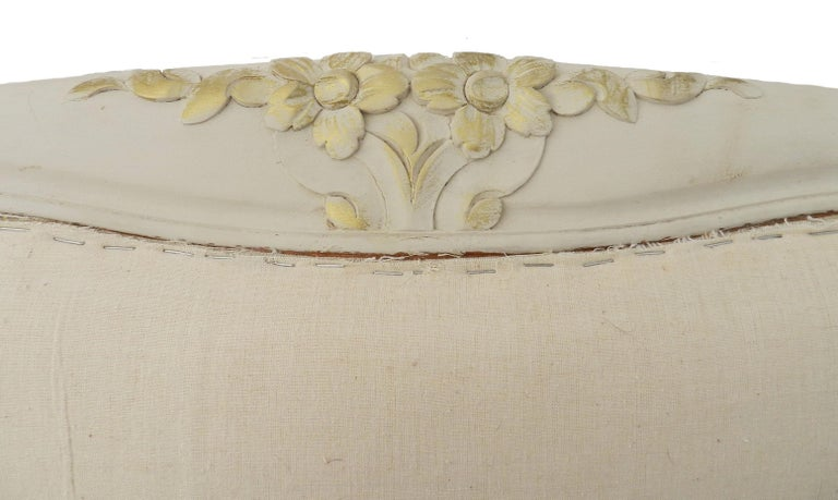 Louis XV French Bed US Queen UK King Painted Covered to White Ready to Recover Scroll End For Sale