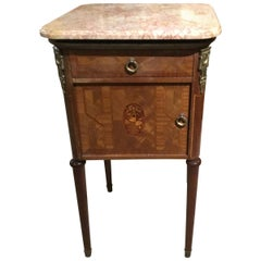 French Bedside Table with Marble Top and Marquetry Inlay