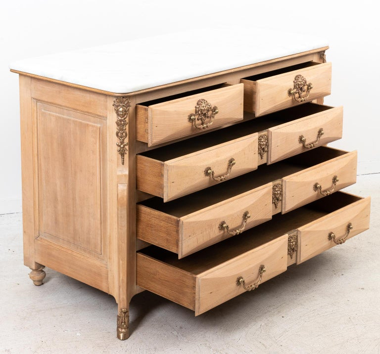 Bronze French Beechwood Chest of Drawers with Marble Top For Sale