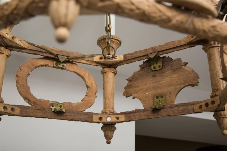 Hand-Carved French Beechwood Empire Style Chandelier For Sale