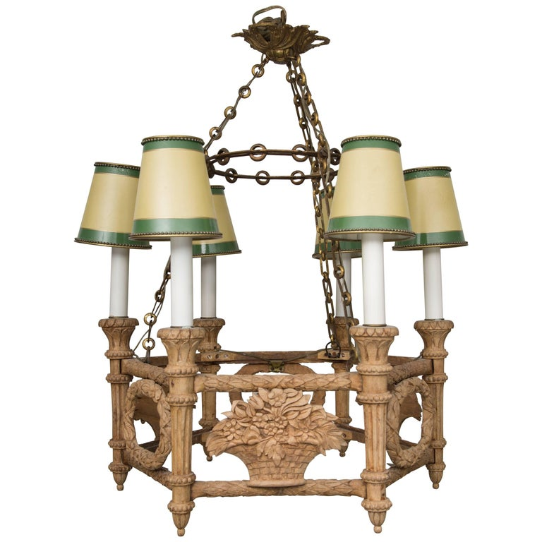 French Beechwood Empire Style Chandelier For Sale