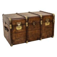 French Beechwood Trunk with Runners Brass Detailing and Leather Handles