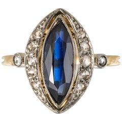 French Belle Époque 1.20 Carat Sapphire Diamonds 18 Karat Gold Marquise Ring