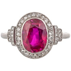 French Belle Époque 3 Carat Burma Ruby and Diamond Cluster Ring Set in Platinum