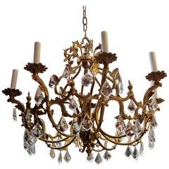 French Belle Epoque 8-Light Chandelier, Early 1900s