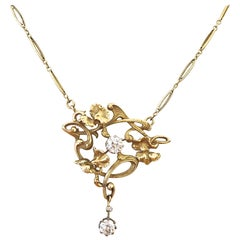 French Belle Epoqué Antique Diamond Gold Pendant Necklace