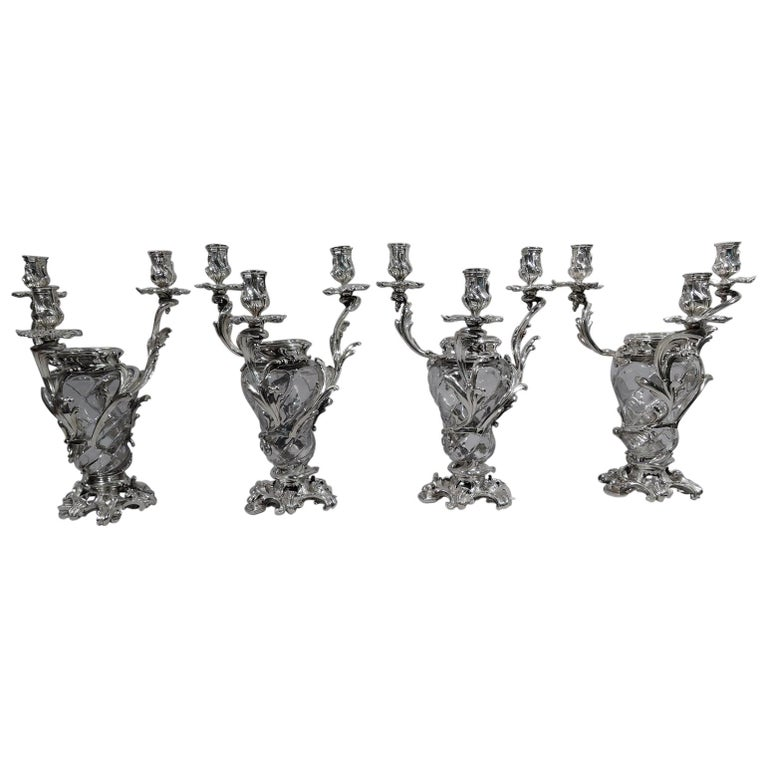 French Belle Époque Baccarat Crystal and Silver Vase 3-Light Candelabra For Sale