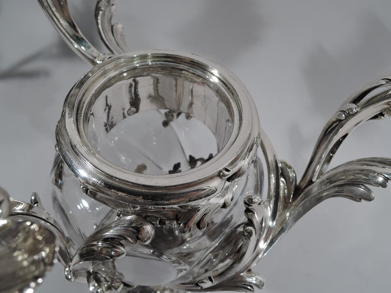 19th Century French Belle Époque Baccarat Crystal and Silver Vase 3-Light Candelabra For Sale