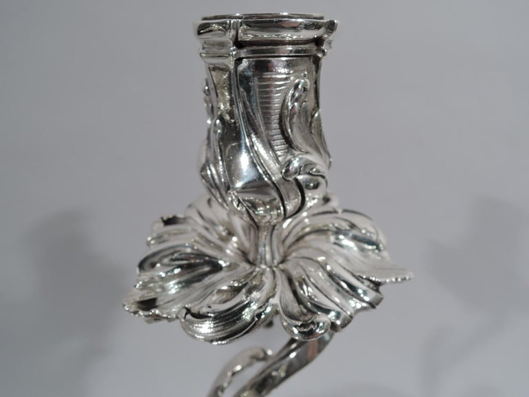 French Belle Époque Baccarat Crystal and Silver Vase 3-Light Candelabra For Sale 2