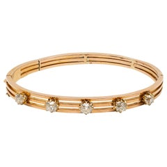 French Belle Époque Bangle Old Mine Cut Diamond Bracelet in 18K Gold, circa 1910