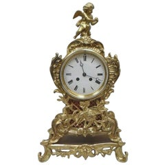 French Belle Epoque Brass and Gilt Rococo Style Mantel Clock