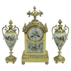 French Belle Époque Brass and Porcelain Mantel Clock Set with Vase Garnitures
