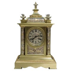 French Belle Époque Brass and Silver Gilt Mantel Clock