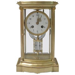 French Belle Époque Brass Four-Glass Mantel Clock by Japy Freres