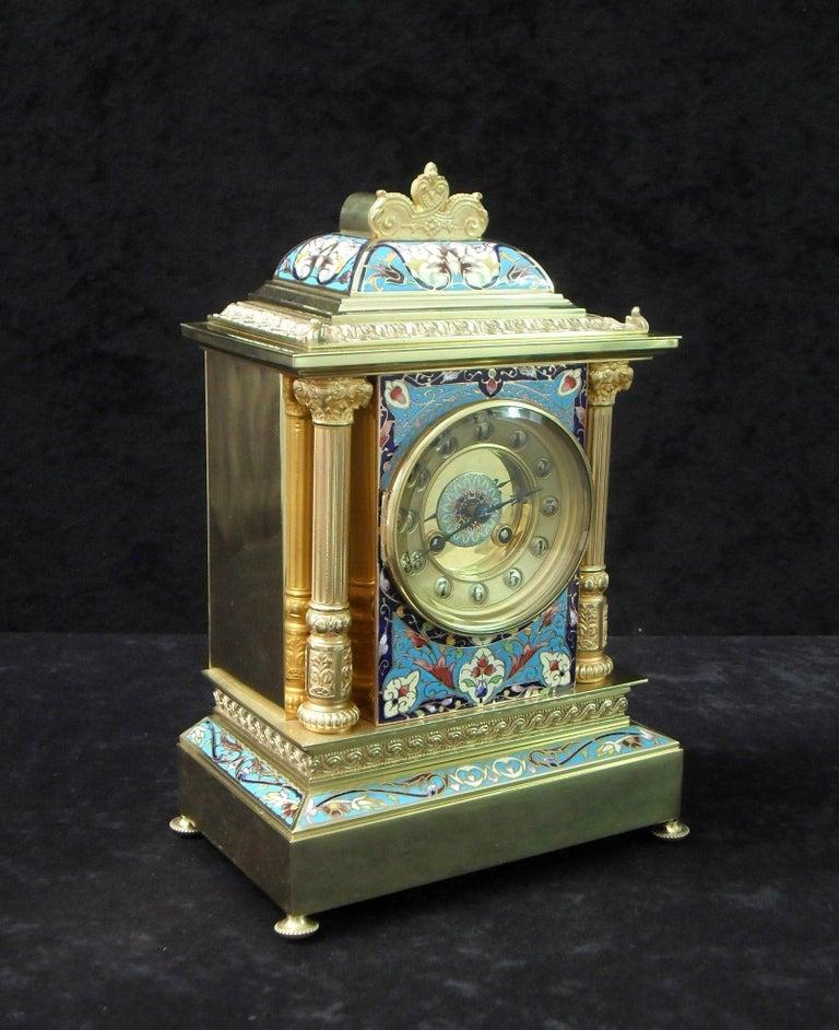 Belle Époque French Belle Epoque Champlevé and Brass Mantel Clock by Samuel Marti For Sale