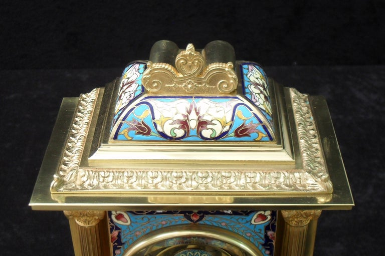 French Belle Epoque Champlevé and Brass Mantel Clock by Samuel Marti In Good Condition For Sale In Macclesfield, GB