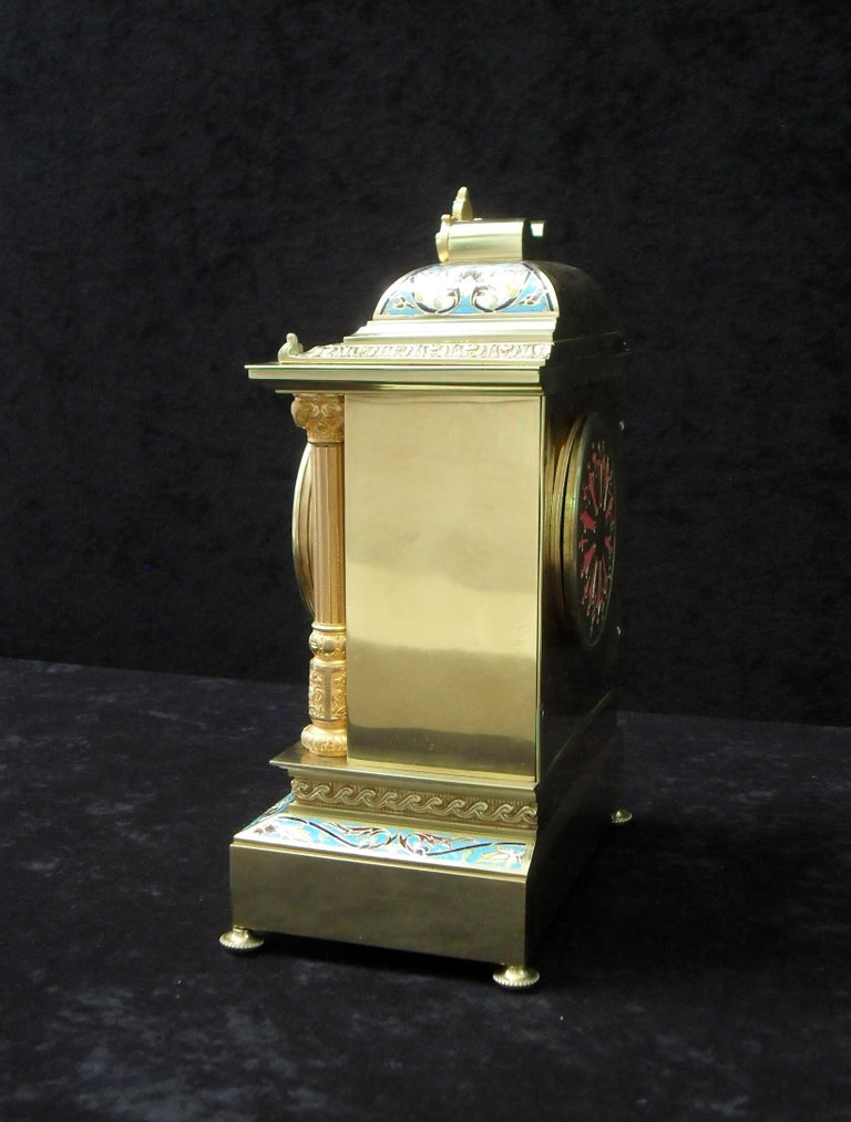 19th Century French Belle Epoque Champlevé and Brass Mantel Clock by Samuel Marti For Sale