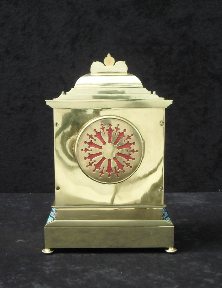 French Belle Epoque Champlevé and Brass Mantel Clock by Samuel Marti For Sale 1