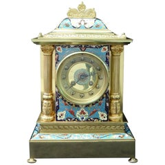 French Belle Epoque Champlevé and Brass Mantel Clock by Samuel Marti