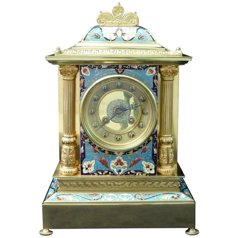 French Belle Epoque Champlevé and Brass Mantel Clock by Samuel Marti For Sale