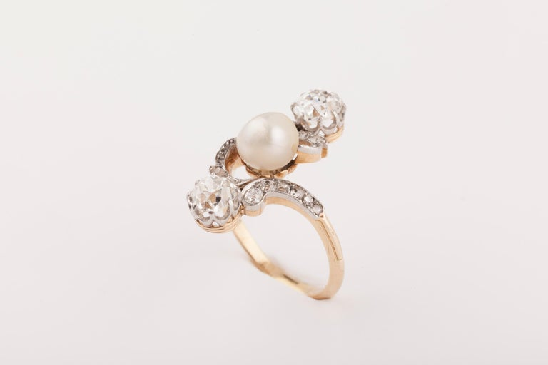 Women's French Belle Époque Crossover Diamond and Pearl Ring For Sale