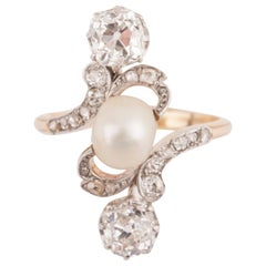 French Belle Époque Crossover Diamond and Pearl Ring