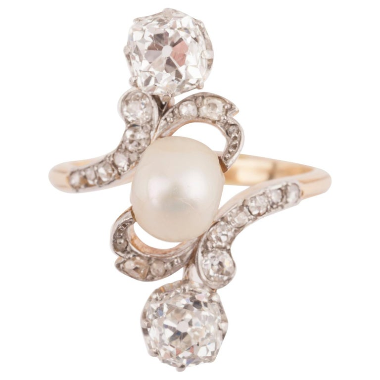 French Belle Époque Crossover Diamond and Pearl Ring For Sale