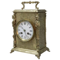 French Belle Époque Decorative Brass Mantel Clock by Japy Freres