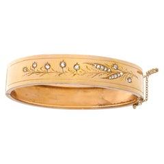 French Belle Époque Diamond 18 Karat Gold Bangle Bracelet