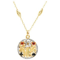 French Belle Époque Diamond Enamel 'Lucky 13' 18 Karat Gold Pendant Necklace