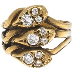 French Belle Epoque Diamond Gold Snake Ring