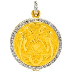 French Belle Époque Diamond Platinum 18 Karat Gold Heron Edwardian Pendant