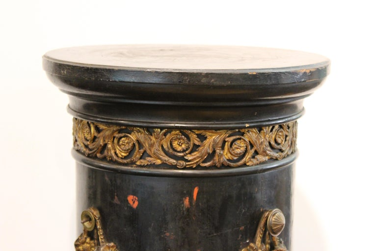 Late 19th Century French Belle Époque Ebonized Wood Column Pedestal with Ormolu Detailing For Sale